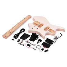 Muslady Unfinished DIY Electric Guitar Kit Basswood Body Maple Wood Fingerboard Guitar Neck Without Headstock