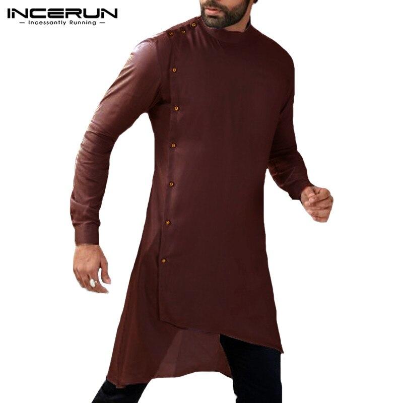 INCERUN 2020 Men Shirt Long Sleeve Button Islamic Arab Shirt Muslim Clothes Men Irregular Hem Solid Casual Shirts Men Suit