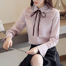 Blouse With Bow Autumn Collar Office Lady Women Blouses Pink Full Sleeve Top Womens Lace Shirt Woman Chiffon