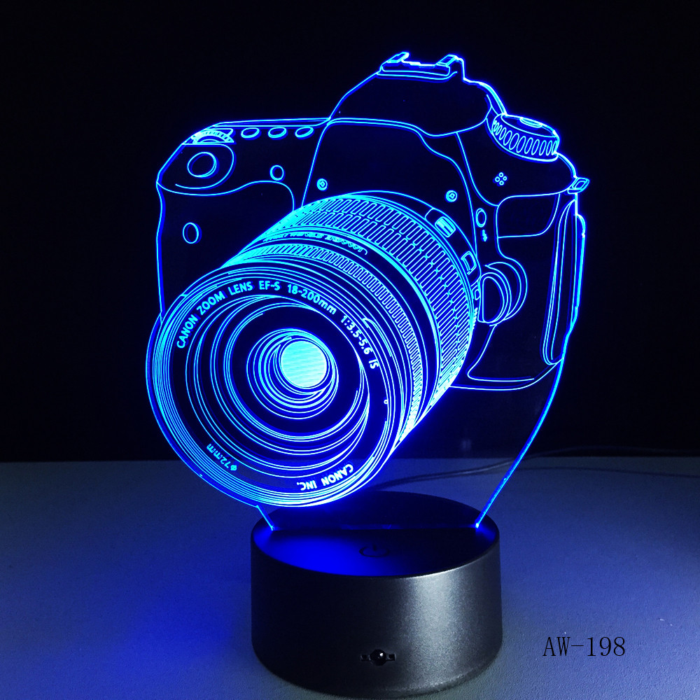 Novelty Canon Camera 3D Lamp LED Battery Power Light Touch 7 Colors Changing USB Table Night Light Bedside Decoration AW-198