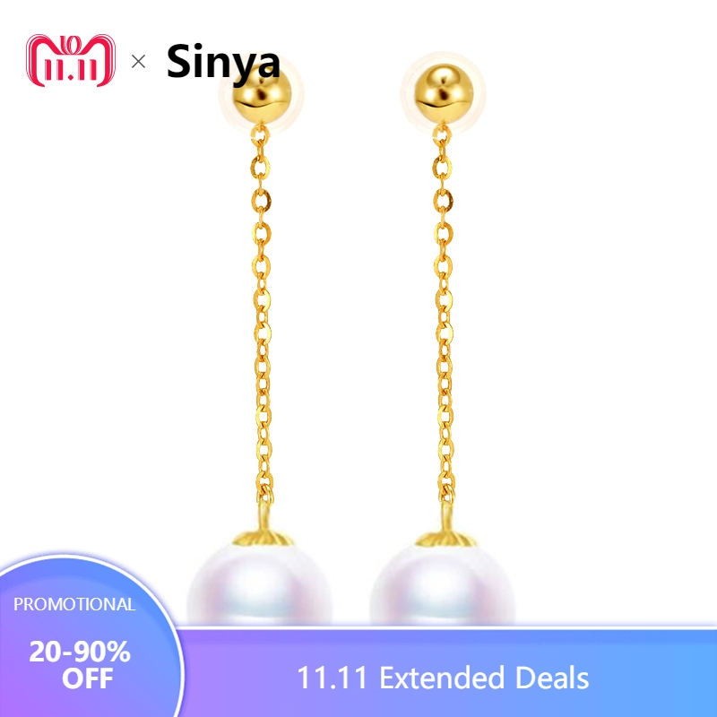 все цены на Sinya Au750 gold beads long chain drop earring with 7-9 mm Natural Round high luster pearls tassel design earring for women Mom онлайн