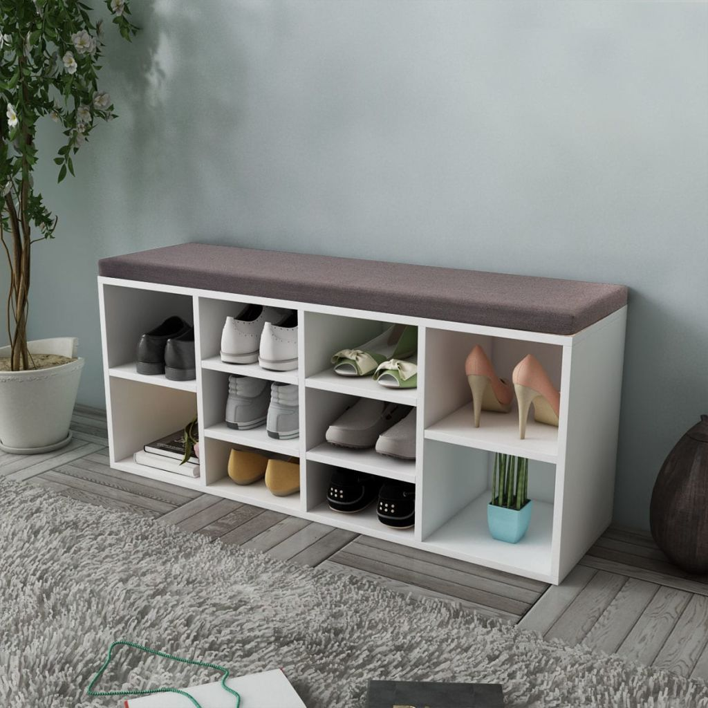 Panana Shoe Bench Storage Cabinet with Cushion Seat Ottoman Foolstools Partition Plate Organiger Livingroom Furnitures