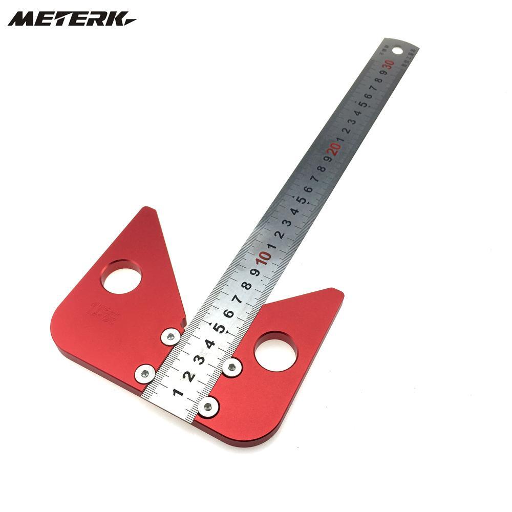 Mini alliage daluminium 45 degr/és 90 degr/és jauge /à angle droit Multifonctionnel pouce m/étrique Angle m/ètre Triangle R/ègle Outil de mesure du bois