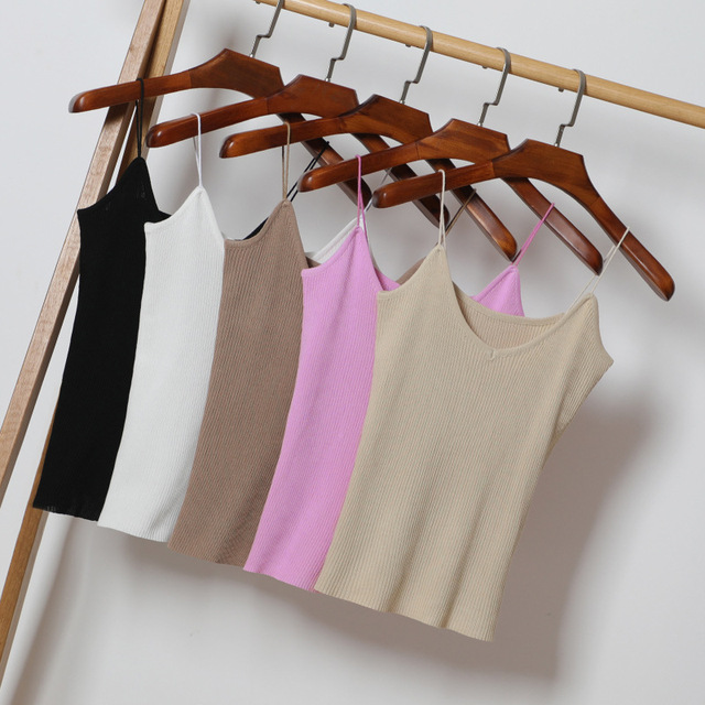 Crop Tops Women Solid Sexy V neck Straps Knitted Tank Tops Summer Camisole Women Gray Black White Top Vest Fitness Femme T-shirt