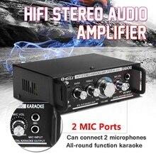 600W 12V/220V 2 Mic Stereo Speaker Mini Car Home Bass Power Amplifier HiFi MP3 B