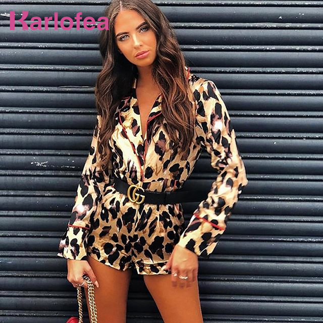 c22ceee3036 Karlofea Women Chic Leopard Print Pattern Rompers Spring Long Sleeve V Neck Casual  Outfit Short Jumpsuit