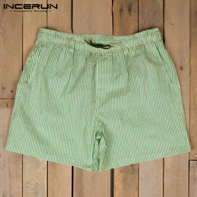 INCERUN Summer Fashion Striped Beach Shorts Men Drawstring Shorts Joggers Seaside Beachwear Men Board Shorts Bermuda Hombre 2019