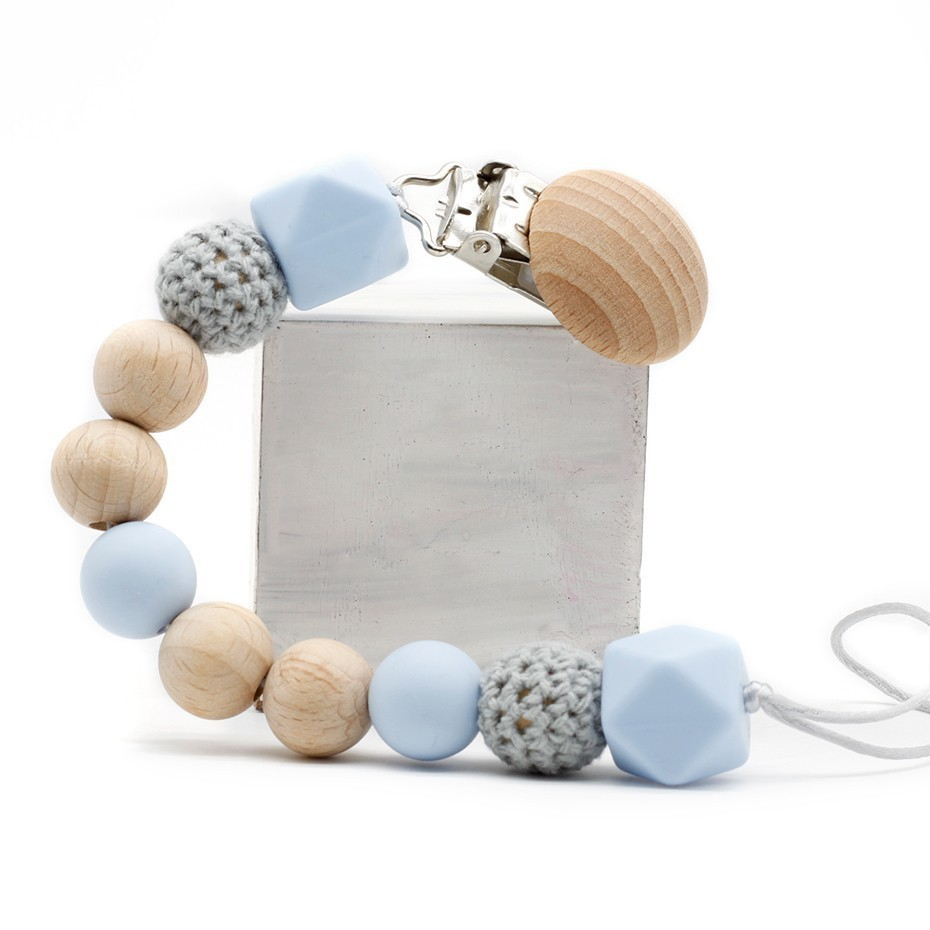 New DIY Baby Pacifier Chain Clip Natural Wood Silicone Crochet Chewing Beads Holder Newborn Children Must-have Anti-fall Gifts