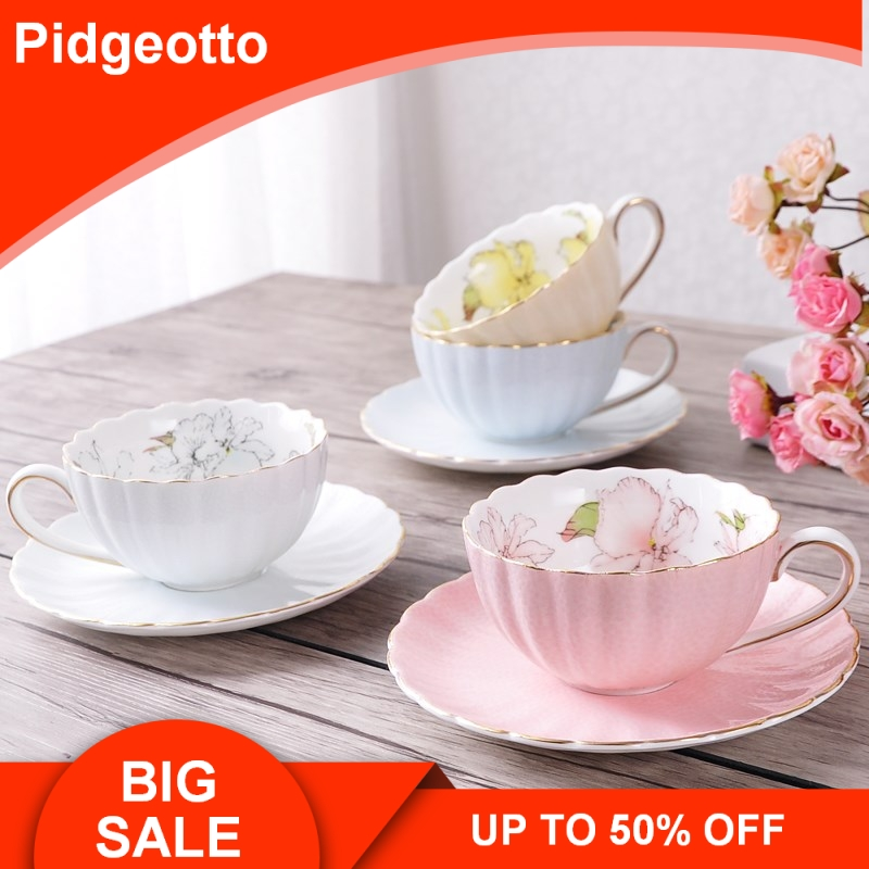 Dish-Spoon Pumpkin-Cup Tea-Cup Ceramic Afternoon-Tea Pink British-Style Black China Pastoral title=