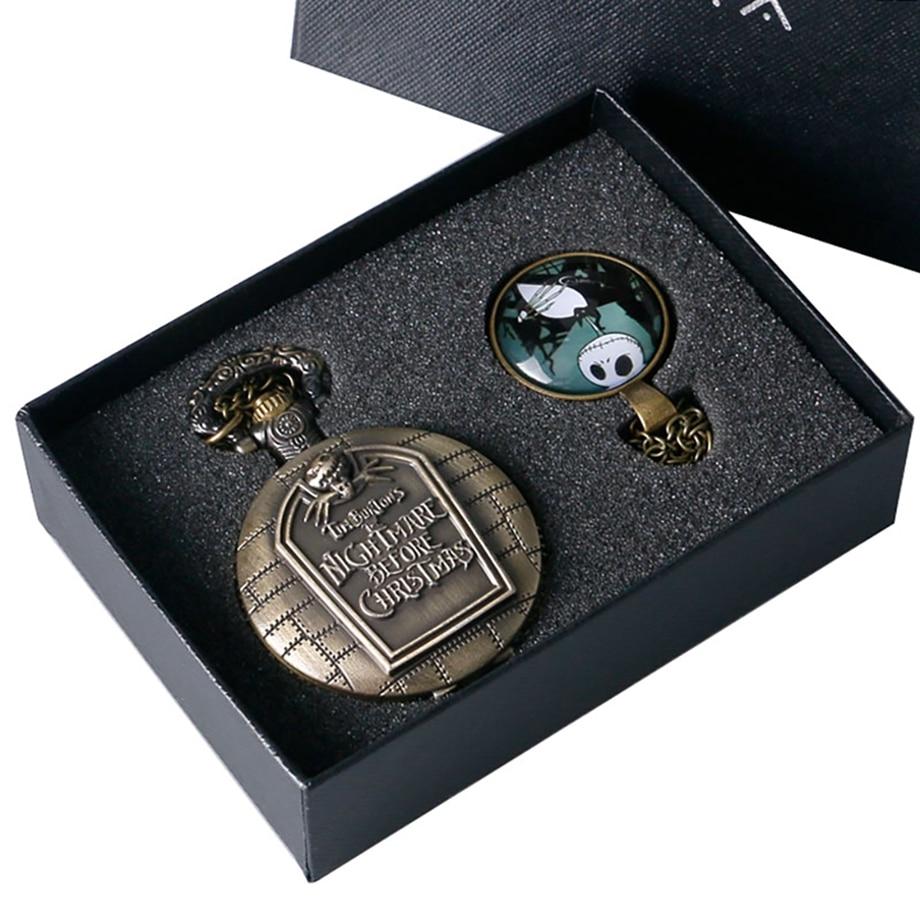 Relógio de Bolso de Bronze do Vintage Relógio de Bolso Colar de Presentes de Natal para Mulheres Noite Mare Projeto Grande Quartzo Cadeia Homens