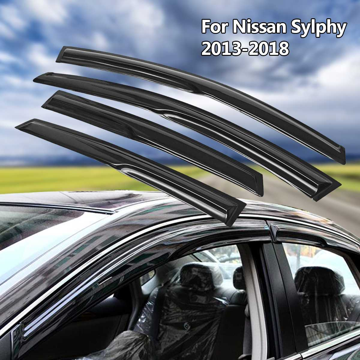 Car Accessories Window Visor Sun Rain Wind Deflector Awning Shield Vent Guard Shade Cover Trim For Nissan Sentra 2013-2018
