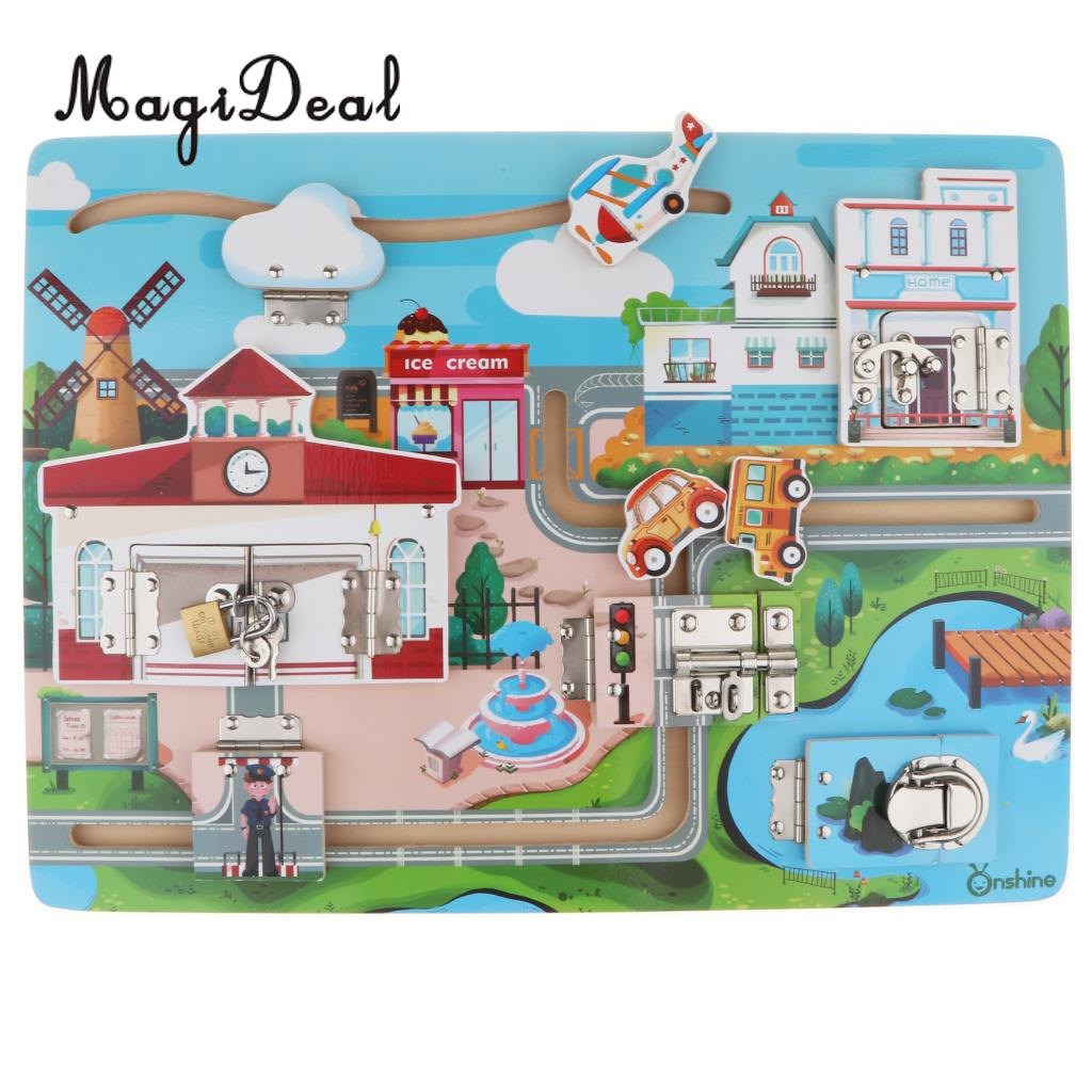 Fun Open Locks Latch Board Puzzle Wooden Educational Toy for Kids Baby Early Brain Training Game Gift