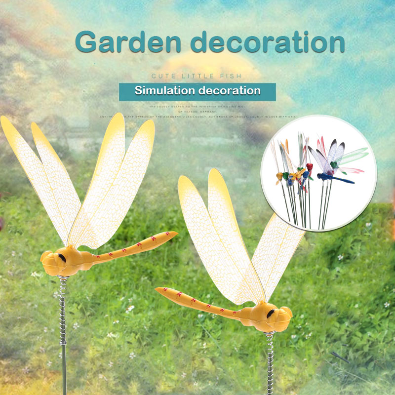 2PCS DIY Artificial Dragonfly Butterfly Garden Lawn Decorations 3D Simulation Dragonfly Yard Plant Lawn Decor Random Color