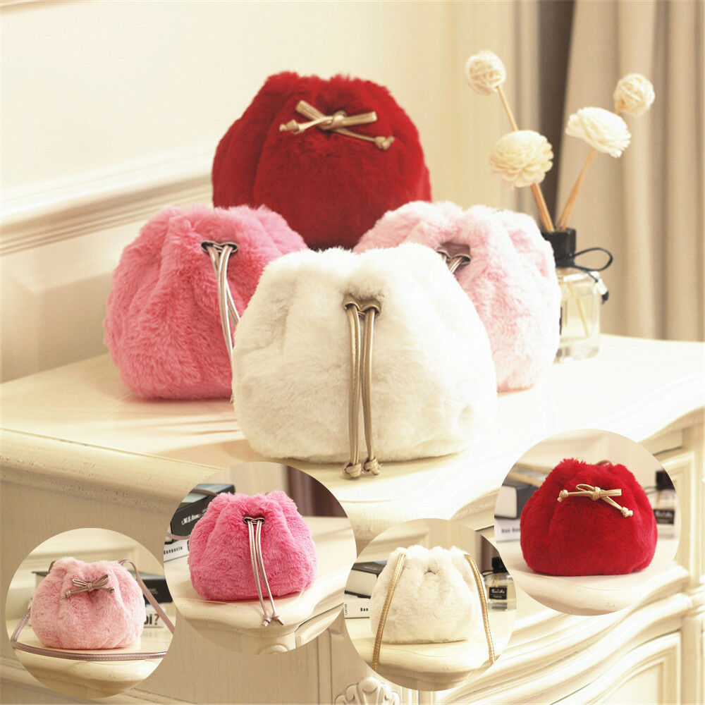 Lovely Fashion Baby Kids Children Girls Fluffy Plush Cute Shoulder Bags Crossbody Purse Bucket Bag