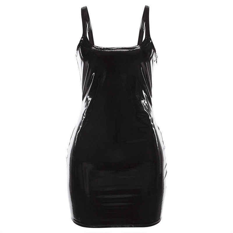 Baru Wanita Pu Kulit Bodycon Gaun Mini Tanpa Lengan Fashion Wet LOOK Club Wear Wanita Slim Gaun Pakaian