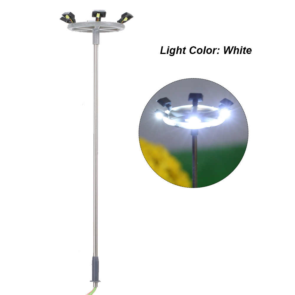 5 piezas modelo de luces de calle diseño de poste de luz tren Jardín patio paisaje lámpara Led iluminación 1:100 escala 115mm