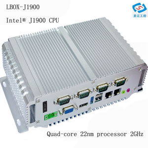 Image 1 - fanless mini pc 4G ram 64G SSD intel celeron processor J1900 industrial computer support wifi dual Lan rs232 12v barebone system