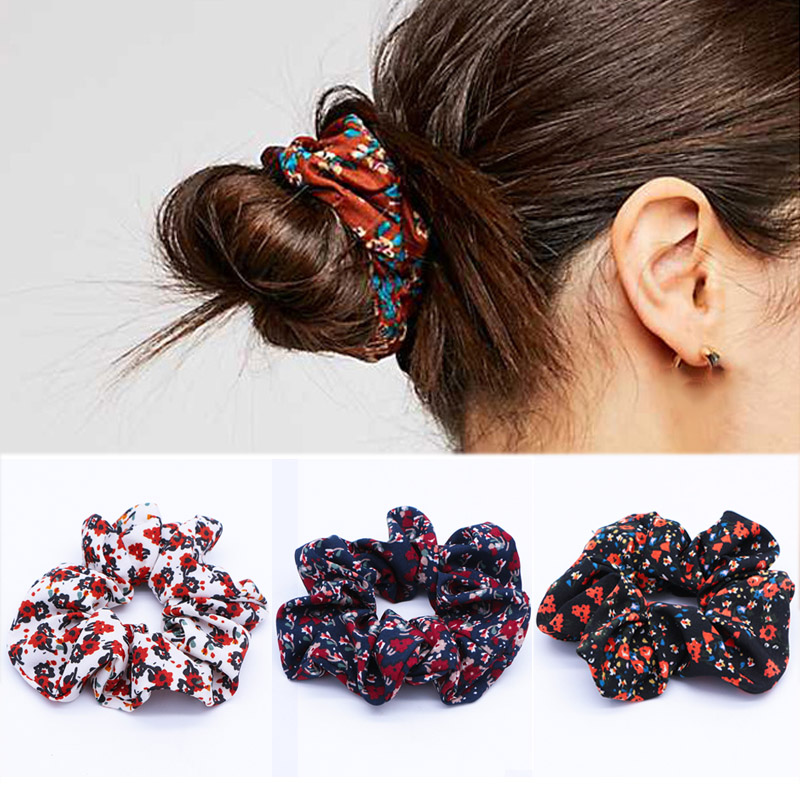 LNRRABC new Flower Comfortable Elastic Valentines Gift Adjustable Gifts Print Hair Accessories 1PC Soft Hair Rope 4 Colors