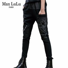 Ripped Jeans Cross-Pants Max-Lulu Black Plus-Size Trousers Streetwear Vintage Korean-Style