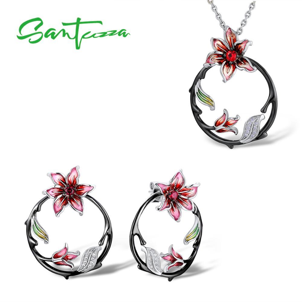 SANTUZZA conjunto de joyas de plata para las mujeres rama pendientes flor colgante de plata de ley 925 joyería de moda de esmalte