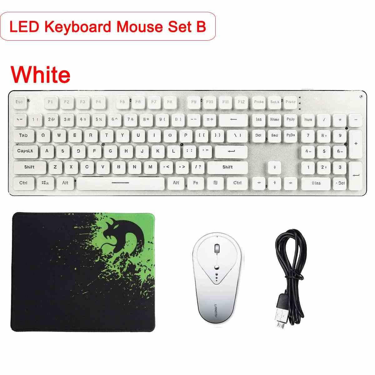 Проводной/беспроводной светодиодный клавиатура и мышь комплект радужной подсветки USB светлый немой эргономичная, игровая коврик для компьютерной мыши комплект для PC Gamer
