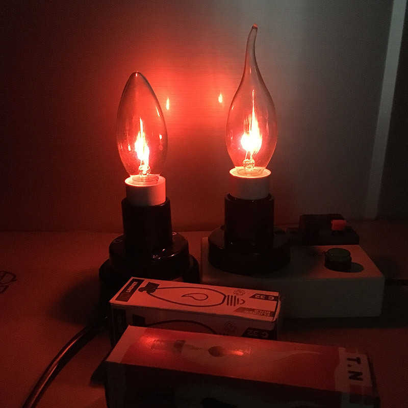 E14 E27 LED Edison Bulb 3W 220V Flame Fire Lighting Lampara Tungsten Orange Red Vintage Flickering Effect Novel Candle Tip Lamp