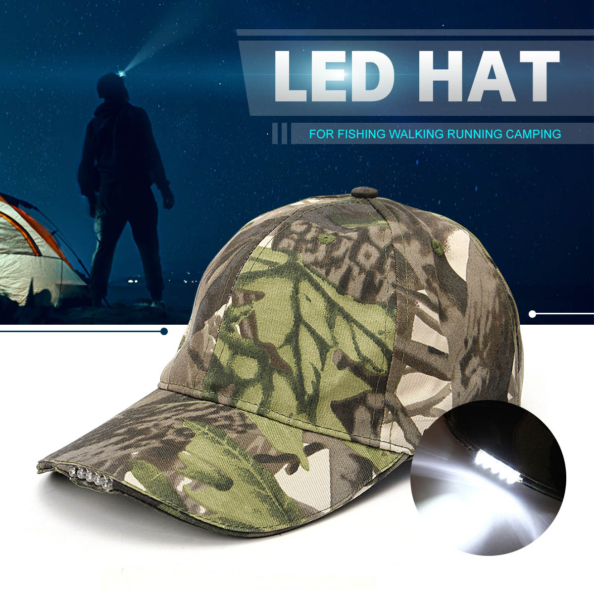 3078adbc5 5 LED Headlamp Baseball Cap Rechargeable Lighted Hat With LED Head Light  Flashlight For Outdoor Evening Sport Fishing Camping