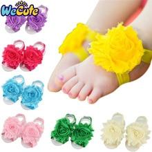 Wecute 1pair Headband Baby Girls Barefoot Sandals Hair Foot Accessories Chiffon Elastic Fashion Decoration Kids Gift