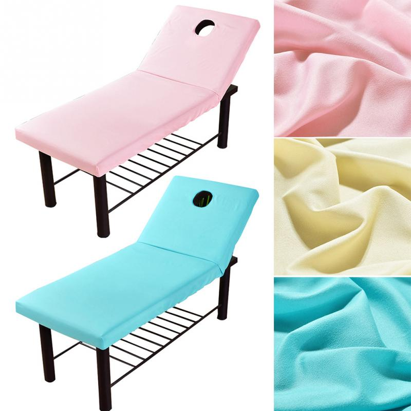 Polyester Massage Table Cloth Bed Cover Sheet Beauty Salon Spa Bed Cover Sheet with Face Hole Pure Color