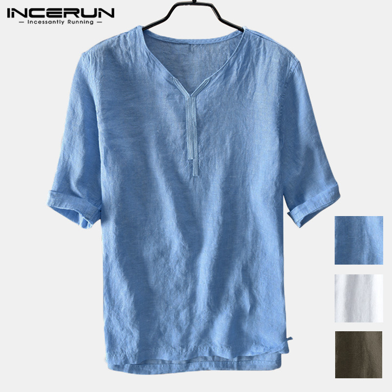 Harajuku Chinese Style Men Shirts Half Sleeve V Neck Solid Loose Camisa Hombre Chemise Men Clothes Pullovers Casual Shirts 5XL