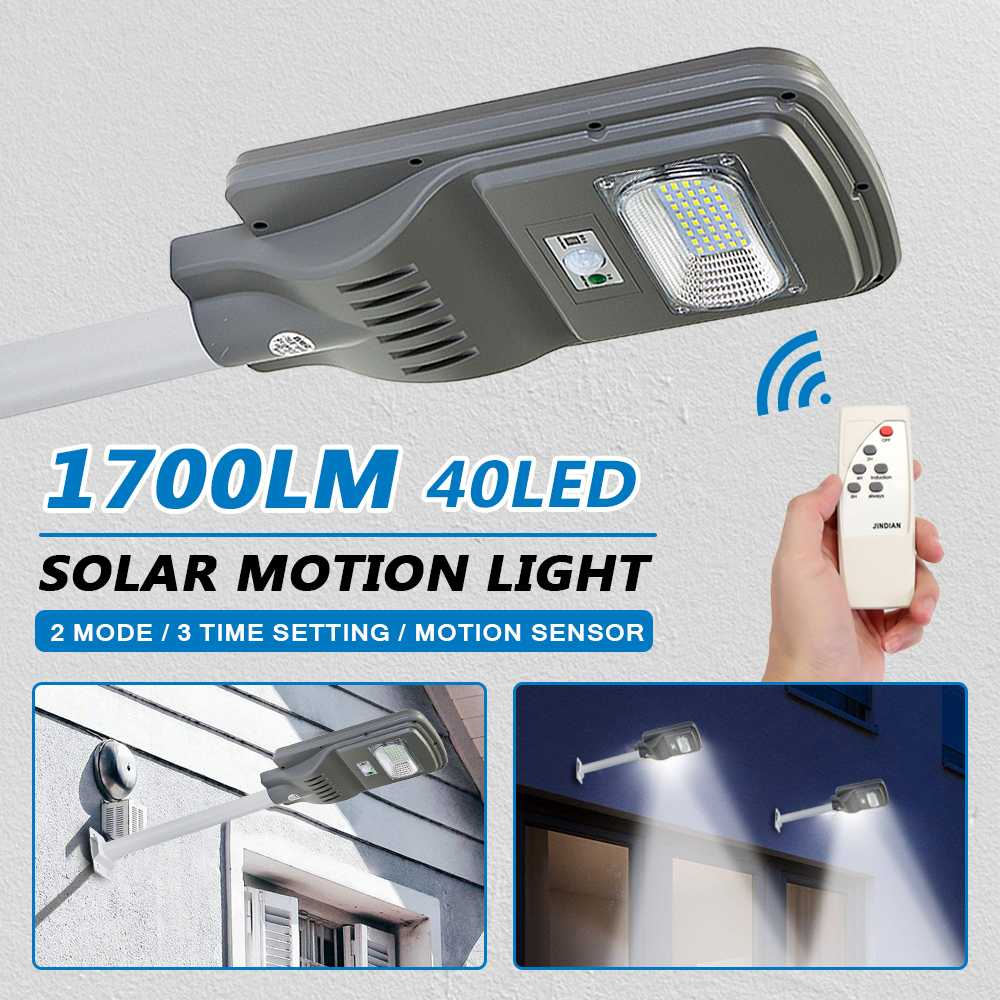 40 LED 1700LM Solar Wall Light + Controller Outdoor Garden Yard Rod Security Lamp Waterproof IP65 Motion Sensor Remote Control
