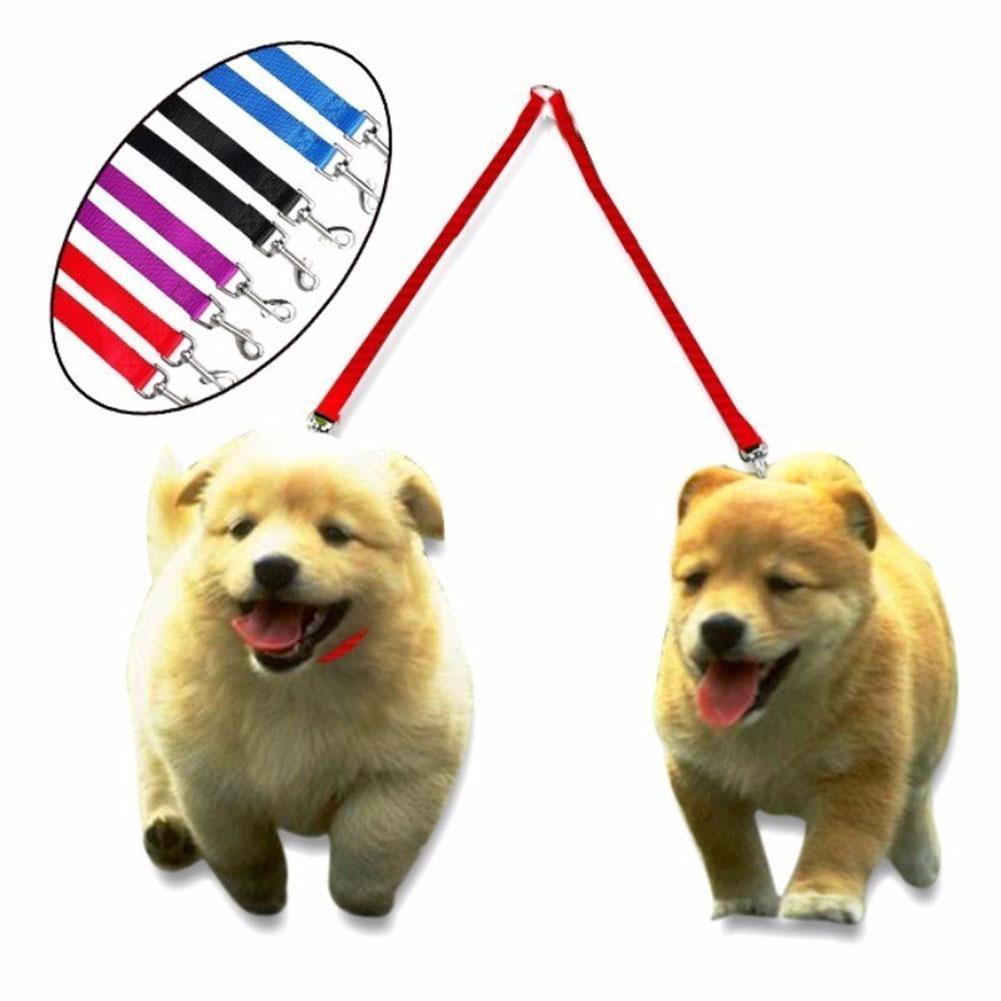 Nylon Couple Double Pet Dog Collar Lead Leash Dog Training Walking Dog Harness Strap-25