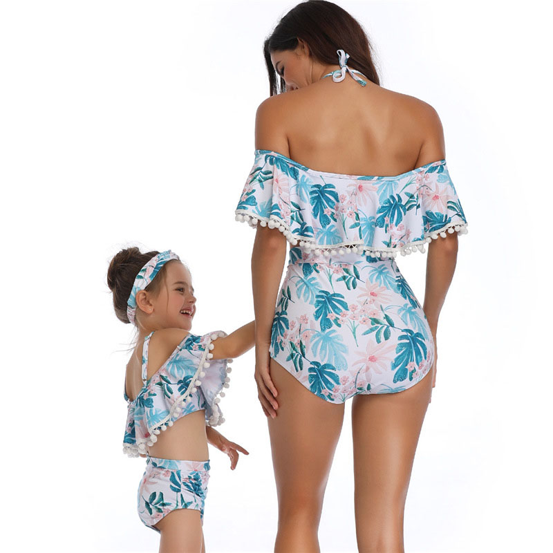 Mom High Waist Bikinis Summer Matching Outfits Mommy Clothes Family Swimsuit Mother Daughter Swimwear Bikini