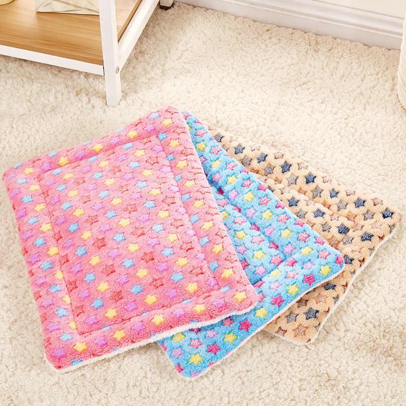 Теплая подстилка с узором в виде звезды, мягкий берберский матрас из флиса для собак, кошек, хит продаж, коврик для щенка, котенка, питомца, синий/розовый/бежевый