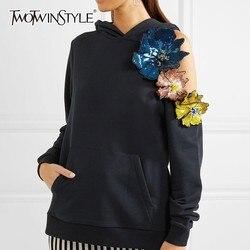 Женская Асимметричная Толстовка TWOTWINSTYLE, осенняя толстовка с открытыми плечами, длинным рукавом и вышивкой бисером, 2020