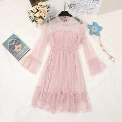 2019 wiosna kobiety Sukienka z cekinami festiwal długie rękawy jednolity kolor Lolita Sukienka elegancka Sukienka na imprezę Sukienka Damska bajan Elbise 3
