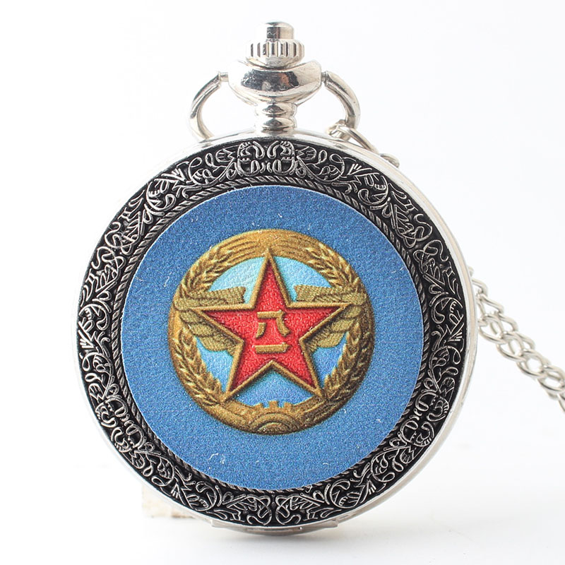 Pocket & Fob Watch Vintage USSR Soviet Badges Sickle Hammer Pocket Watch Necklace Pendant Chain Clock  Russia Emblem Communism