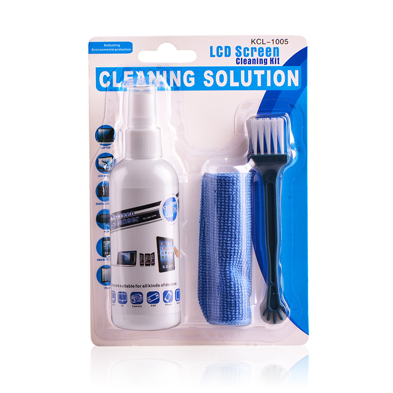 LEORY KCL-1005 LCD TV Screen Cleaning Kit for Desktop Computer Laptop Digital Camera Keyboard Cleaning Solution Cloth Brush Kits screen protector with cleaning cloth for iphone 4