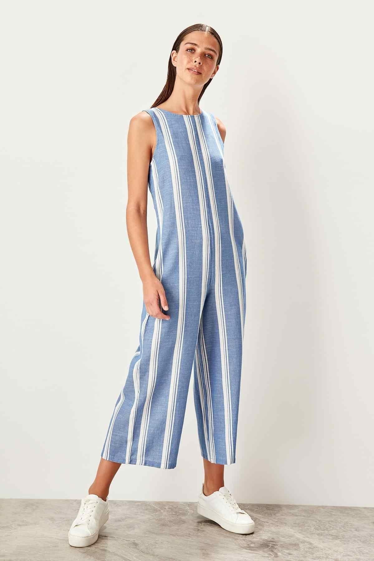 Trendyol Blue Striped Jumpsuit TWOSS19RD0001