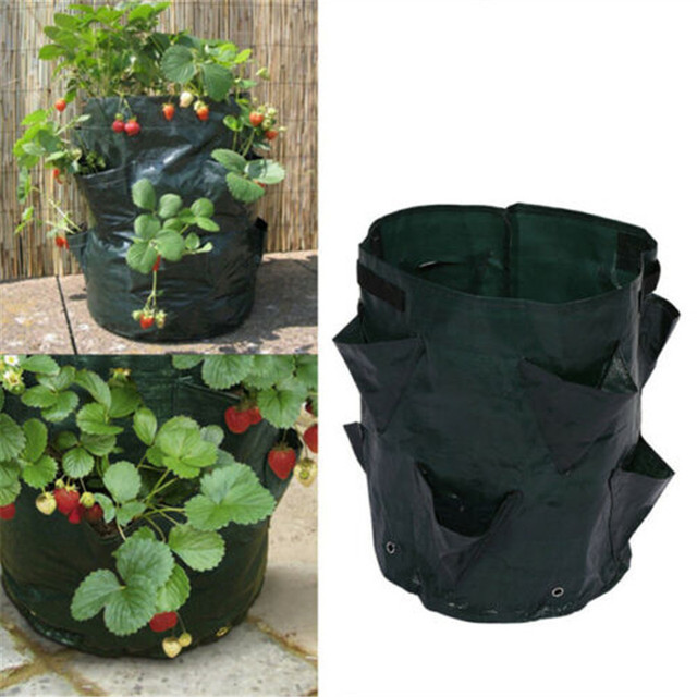 Jardim Ao Ar Livre Saco de Plantio Crescer Morango Flor Vertical Bolsa Erva Raiz Vegetal Rodada Reutilizável Respirável Pot Planter Bag