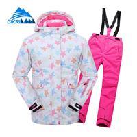 New Kids Girls Waterproof Cotton Padded Jacket Thick Pants Snowproof Outdoor Snowboard Skiing Suit Winter Ski Snow Children Set