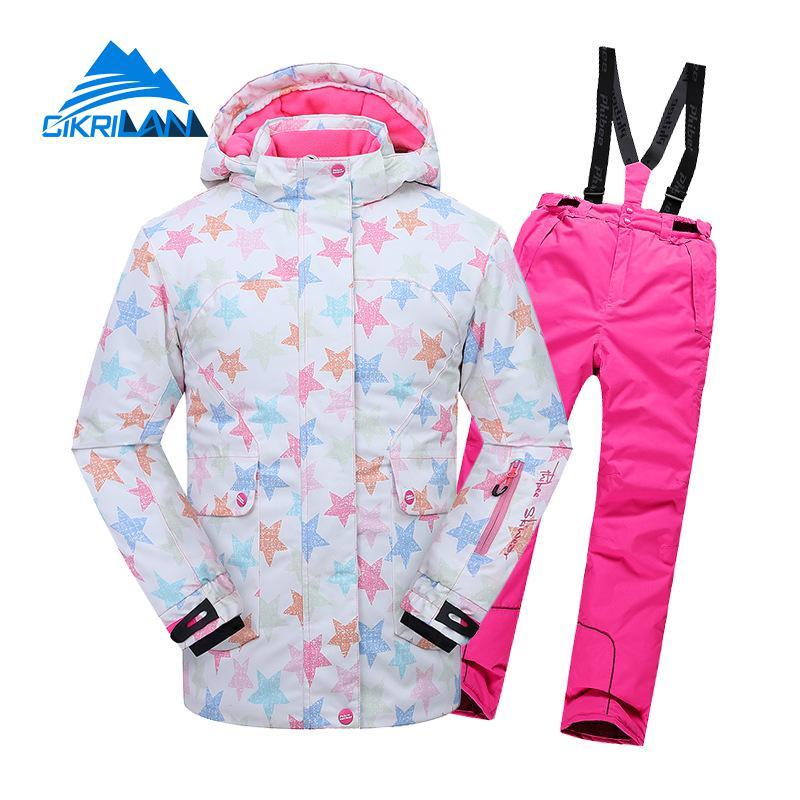 Nouveau enfants filles imperméable coton veste rembourrée pantalon épais Snowproof extérieur Snowboard Ski costume hiver Ski neige enfants ensemble
