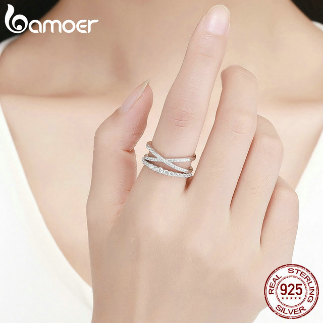BAMOER 2pcs Authentic 925 Sterling Silver Dazzling CZ Geometric Finger Rings for Women Wedding Engagement Jewelry anel SCR463 4
