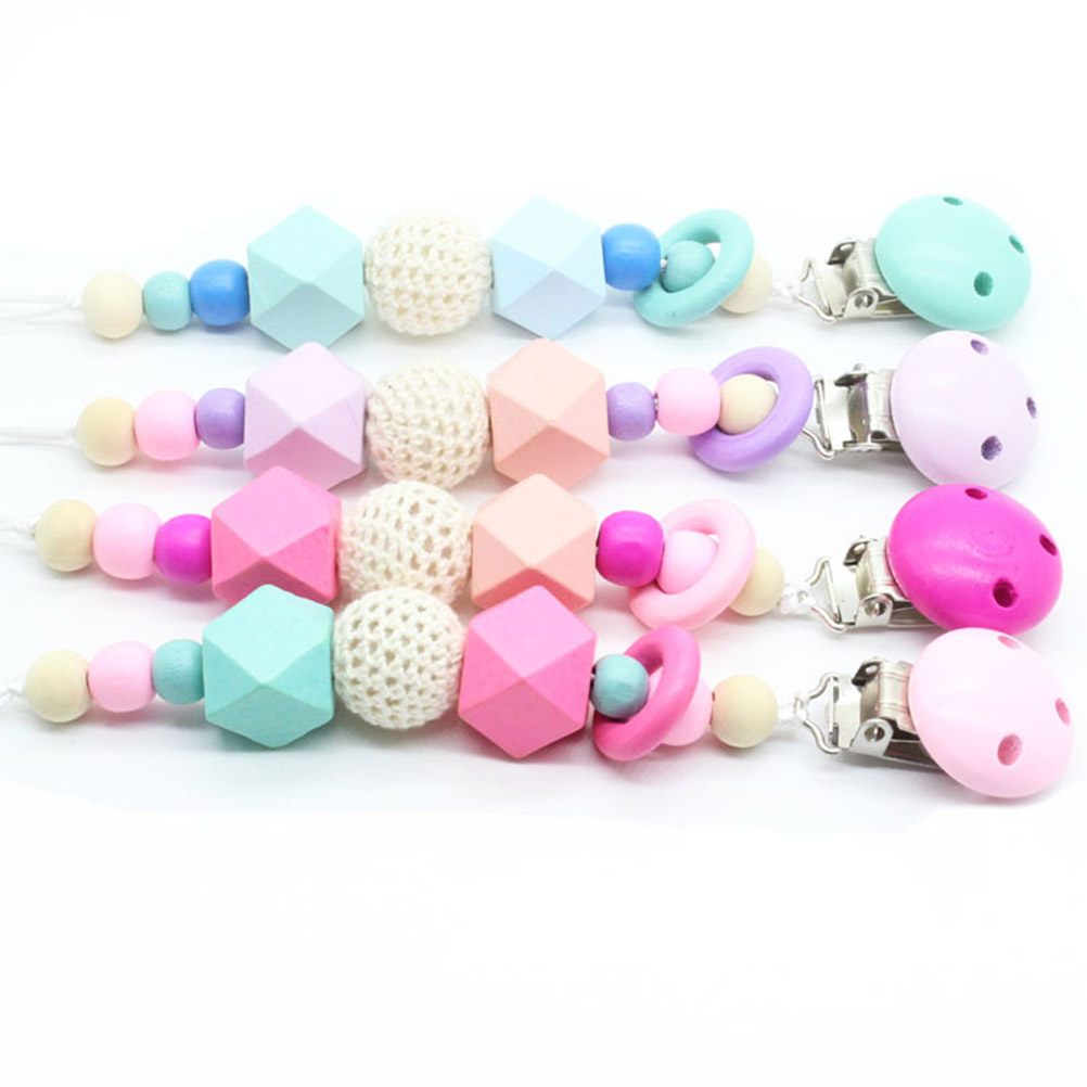 1PCS Baby Pacifier Clips Teething Beads Soother Multi-style Spacers Pacifier Holder(Rose Red)