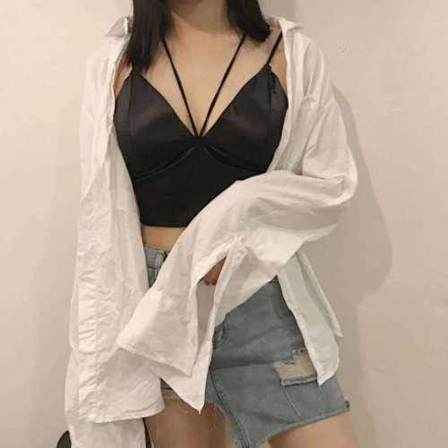 Women 2020 Casual Satin Strap Vests Camis Solid V Neck Wrap Chest Crop Top Underwear Padded Bra