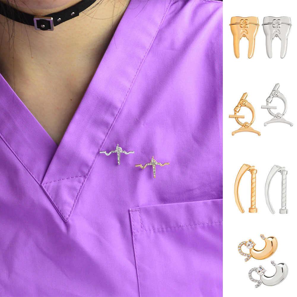 Medis Bros Koleksi Kristal Rahim Mikroskop Bedah Perut EKG Gigi Pin Emas Perak Perhiasan untuk Dokter Perawat Hadiah