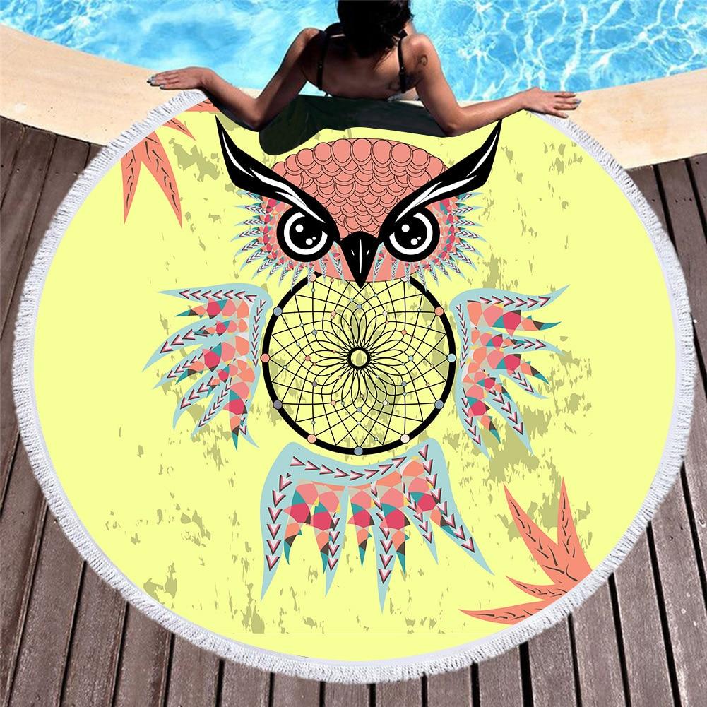 Bohemian Style Dream Catcher Round Beach Towel Microfiber Towel Bath Summer Swimming Sport Large Towel Adults Kids Toalla Playa in Bath Towels from Home Garden