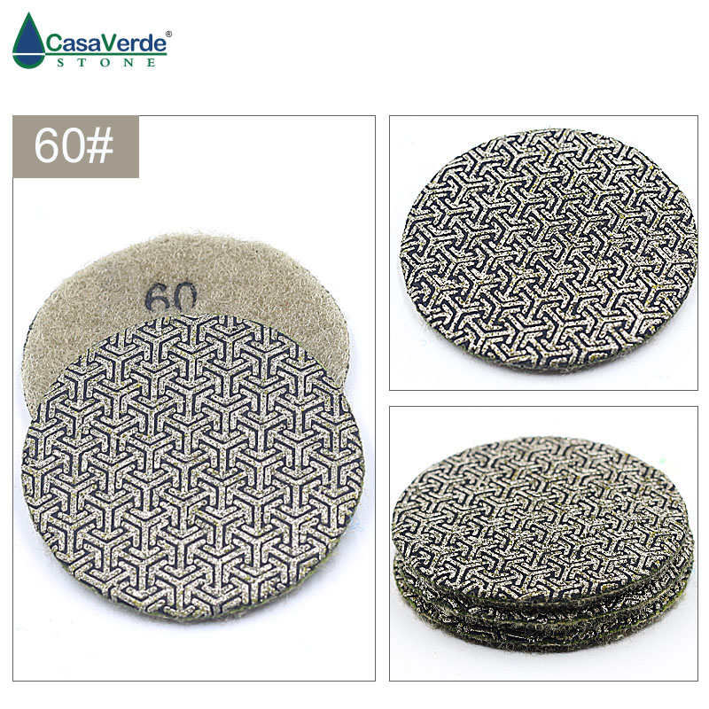 3pcs/set By Grit 2 Inch 50mm Electroplated Diamond Polishing Pads Dry And Wet For Grinding Stone Diamond Abrasive Pads