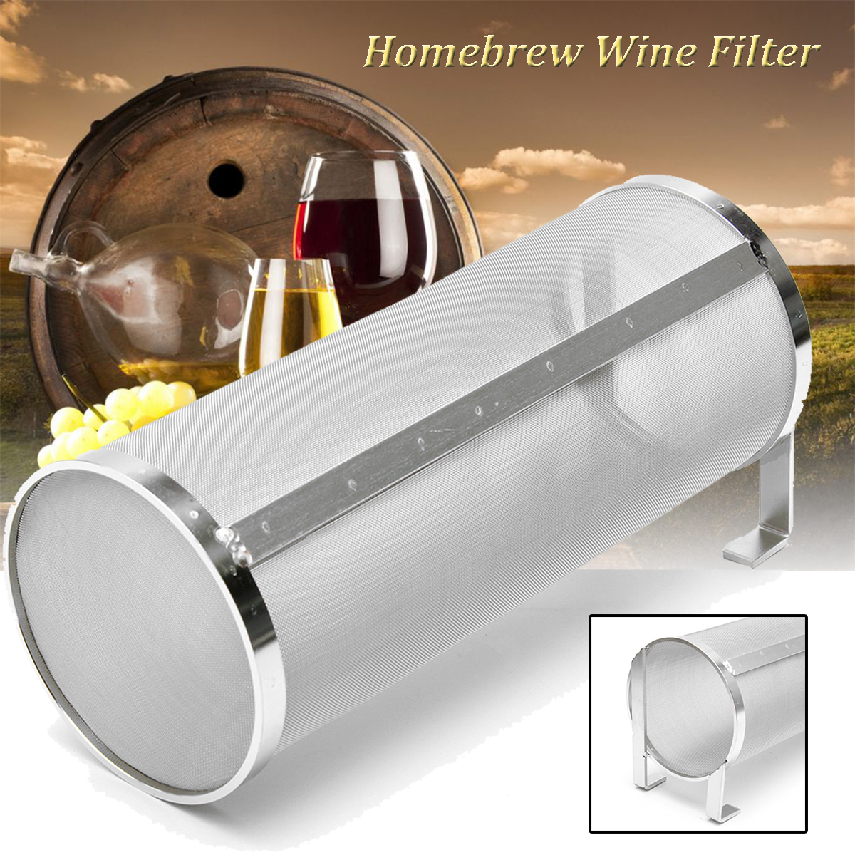 304 Stainless Steel Hop Spider Strainer Home Brew Beer Pellet Hop Filter 100x255mm Reusable 400 Micron Filtering For Brew Kettle
