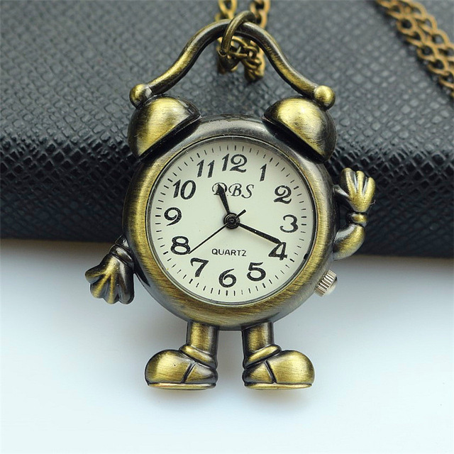 Trend Mark Nazeyt Men Women Retro Vintage Bronze Robot Quartz Pocket Watch Lady Small Fob Clock Necklace Chain Pendant Gift Watch Watches